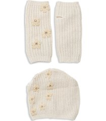 2-piece embellished beanie & gloves set