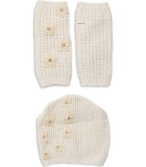 2-piece embellished beanie & gloves set