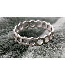 eko pierścionek, obrączka srebrna plaster miodu