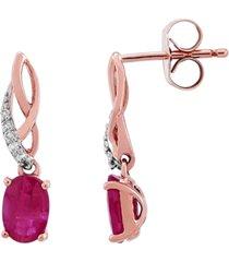 certified ruby (1-3/8 ct. t.w.) & diamond (1/20 ct. t.w.) drop earrings in 10k rose gold