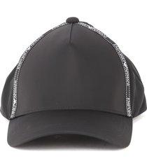 emporio armani black baseball cap with logo tape