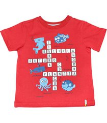 camiseta juan manga corta estampado rojo