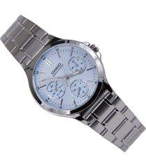 reloj casio ltp-v300d-2a lujoso plateado azul