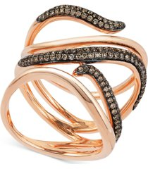 le vian chocolatier chocolate diamond multi-row statement ring (3/8 ct. t.w.) in 14k rose gold