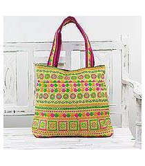 embroidered tote handbag, 'swirling beauty' (india)