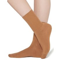 calzedonia short socks in cotton with cashmere woman brown size 36-38