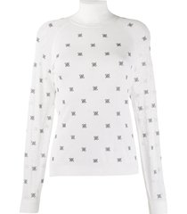 fendi karligraphy motif high collar pullover - white