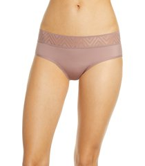 women's thinx period proof hiphugger panties, size large - purple