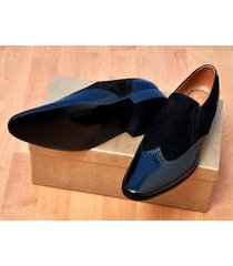 handmade mens patent leather and suede moccasins shoes, mens black dress shoes