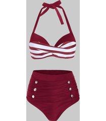 striped moulded mock button tummy control bikini swimwear