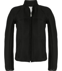 chanel pre-owned sports line stand-up mesh jacket - black