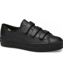 zapatilla triple velcro cuero negra keds