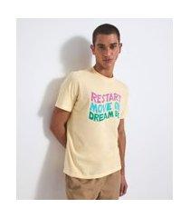 camiseta com estampa restart | blue steel | amarelo | m