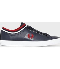 fred perry unders. tip. cuff lthr sneakers navy