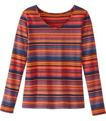 gestreept shirt met lange mouwen uit bio-katoen, oranje-gestreept 42