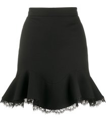alexander mcqueen lace-trim ruffled skirt - black