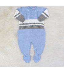 macacão tricô texas azul e cinza