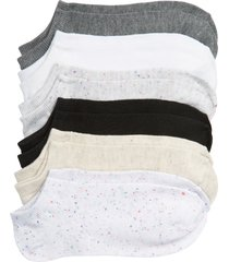 women's nordstrom solid nep assorted 6-pack low-cut socks, size 9/11 - white