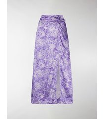 ganni rose print slip skirt