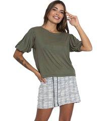 camiseta manga bufante le julie verde - kanui
