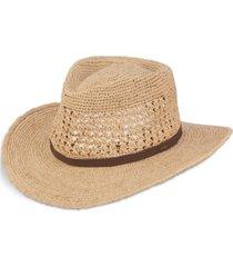men's crocheted raffia outback hat