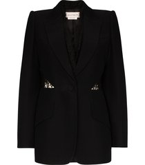 alexander mcqueen lace insert single-breasted blazer - black