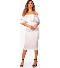 bardot layered frill detail midi dress, ivory