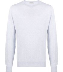john smedley hatfield knitted long sleeve jumper - blue