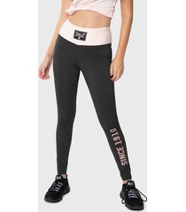 leggings everlast long boxing two love gris - calce ajustado