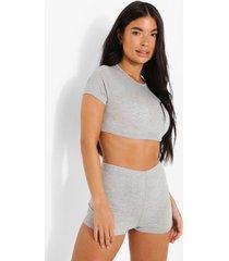 petite pyjama set met crop top en shorts, grey marl