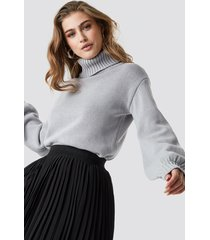 na-kd balloon sleeve high neck knitted sweater - grey