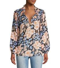 blush rose floral blouse