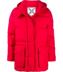 kenzo cross logo puffer jacket - red