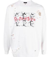 r13 graphic-print distressed sweatshirt - white