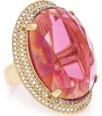 anel kumbayá oval semijoia banho de ouro 18k cristal rosa e cravaçáo de zircônias - tricae