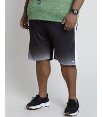 bermuda masculina esportiva ace com degradê e faixas laterais preta