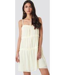 na-kd boho thin strap tiered mini dress - offwhite