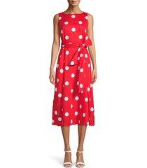 women's anne klein polka dot bateau neck midi dress, size x-large - red