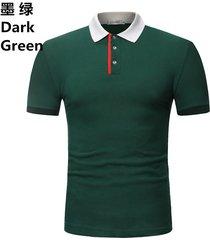 camiseta de solapa de casual tops hombre verano nuevo polo casual-verde oscuro