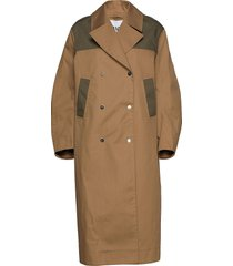 double cotton trenchcoat lange jas beige ganni