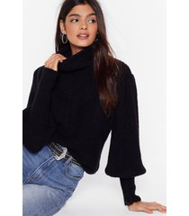 womens get knit right turtleneck balloon sleeve sweater - black