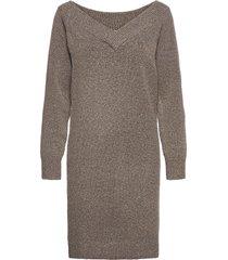 viella l/s v-neck knit dress/za kort klänning brun vila