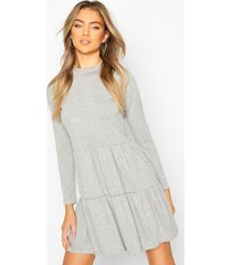 jersey tiered smock mini dress, grey marl
