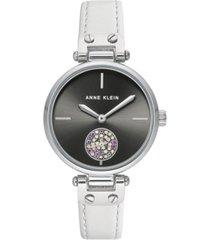 anne klein women's white leather strap watch 34mm