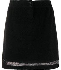 barrie terrycloth mesh insert skirt - black