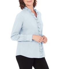 women's foxcroft gwen stretch ruffle button-up shirt, size 8 - blue