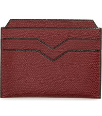 women's valextra leather card case - burgundy