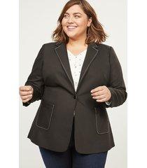 lane bryant women's bryant blazer - modern stretch with single button 28p black
