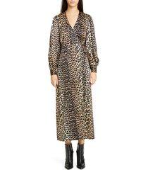 women's ganni leopard print long sleeve silk satin midi wrap dress, size 8 us / 40 eu - brown