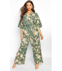 floral batwing jumpsuit, green